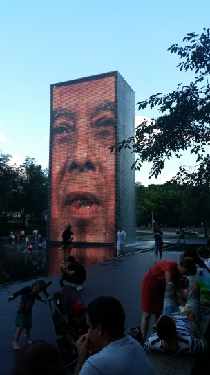 Crown Fountain Chicago, Il great way to cool off.